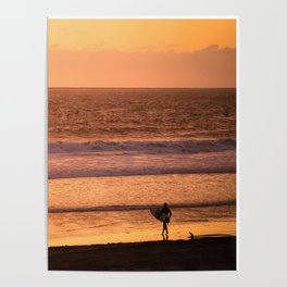 Surfer watching sunset in Southern California Poster