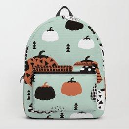 Inky Texture Pumpkins halloween illustration pattern design mint orange Backpack