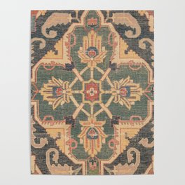 Geometric Leaves VI // 18th Century Distressed Red Blue Green Colorful Ornate Accent Rug Pattern Poster