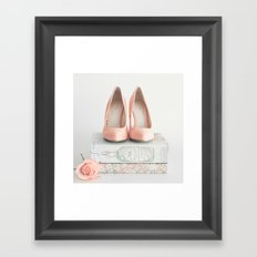 Blush coral heels and french books Framed Art Print