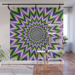 Spiky Pulse in Green Yellow Blue and Pink Wall Mural