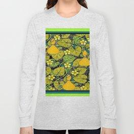 Green Art Nouveau Vines Gourds Floral Teal Art Long Sleeve T-shirt