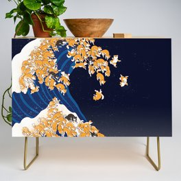 Shiba Inu The Great Wave in Night Credenza