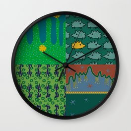 Patchwork made out of eight author images in green colors Wall Clock