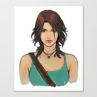 lara croft Canvas Prints featuring Rise of Lara Croft by TholiaArt