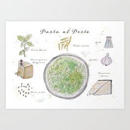 Pasta al Pesto Recipe Art Print
