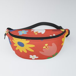 Flowers Floral Sunflower Pattern on Red Fanny Pack