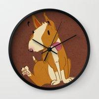 bull terrier Wall Clocks featuring Bull Terrier by Kristen Rimmel