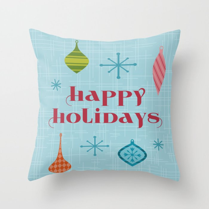 Mid Century Happy Holidays Throw Pillow