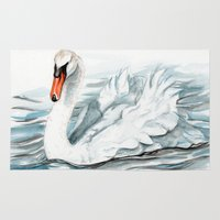 swan Area & Throw Rugs featuring Swan by rchaem