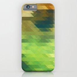 Green yellow triangle pattern, lake iPhone Case