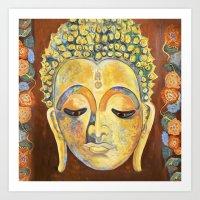 buddah Art Prints featuring Buddah by cushionartaustralia