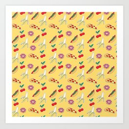 Modern yellow red fruit pizza sweet donuts food pattern Art Print