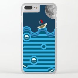 The blue sea, the white moon and the little red boat Clear iPhone Case
