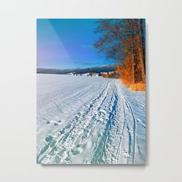 Hiking through a sunny winter scenery Metal Print