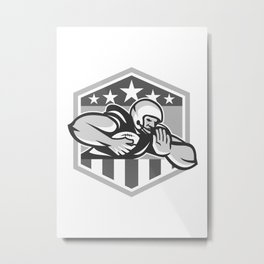American Football Running Back Fend-Off Crest Grayscale Metal Print