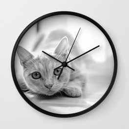 The pouncing kitty - BW Wall Clock