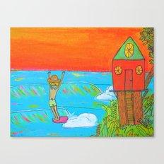 hang 10 surf dude tree house living Canvas Print