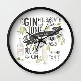 Gin Tonic Recipe In Watercolor Wall Clock