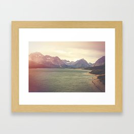 Retro Mountain Lake Framed Art Print