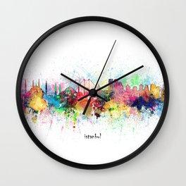 istanbul skyline artistic Wall Clock