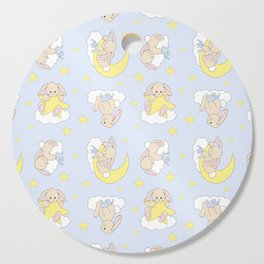 Bunny Moon Star Clouds Nursery Neutral Cutting Board