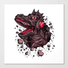 Dino with Headphones Finn Canvas Print