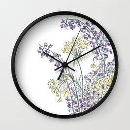 Wild Flowers Ink and Watercolor  Wall Clock