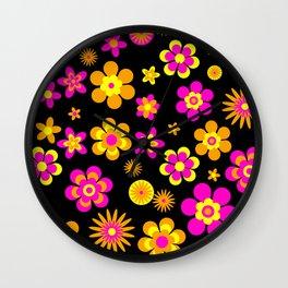 Seventies Look Floral Pattern on Black Wall Clock