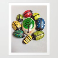 Ladybirds and a bee under a Tree #2 Art Print