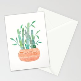 cute watercolor lucky bamboo plant art print Stationery Cards