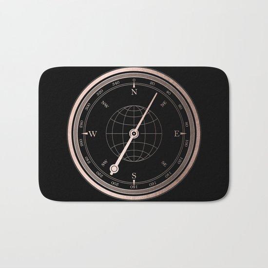 Rose Gold Compass on Black Bath Mat