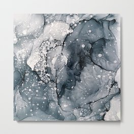 Icy Payne's Grey Abstract Bubble / Snow Painting Metal Print