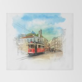 Old tram in Istanbul Throw Blanket