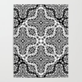 black and white Damascus ornament Poster