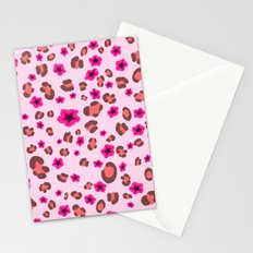 Romantic Leopard Print with Red Flowers on Pink Stationery Cards