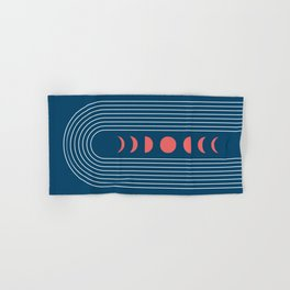 Geometric Lines in Midnight Blue and Coral (Rainbow Moon Phases Abstract) Hand & Bath Towel
