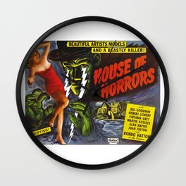 House of Horrors, vintage horror movie poster Wall Clock