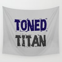 attack on titan Wall Tapestries featuring Workout Collection: Toned Titan by Kat Mun