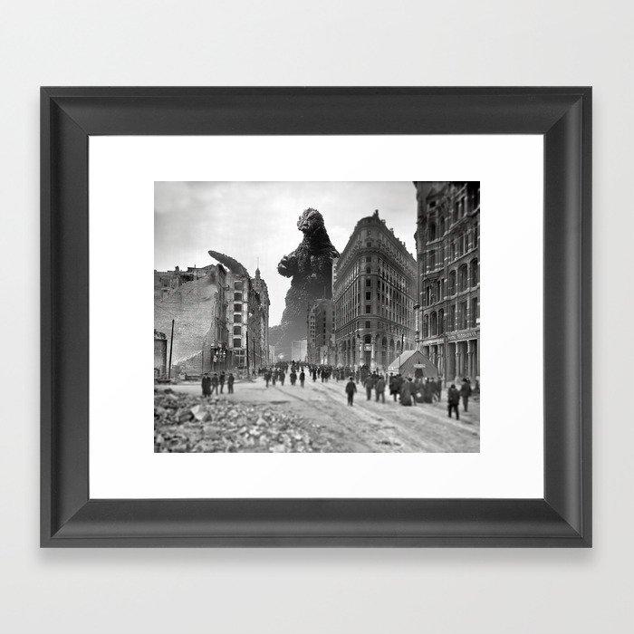 Old Time Godzilla in San Francisco Framed Art Print