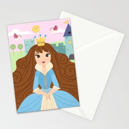 Fairy Tale Princess With Her Story Book Castle - Blue Dress Stationery Cards