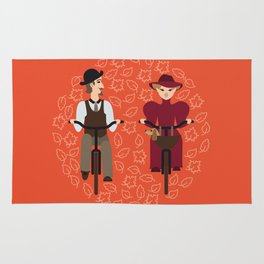 Retro cyclists Rug