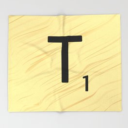 Scrabble T Initial - Large Scrabble Tile Letter Throw Blanket