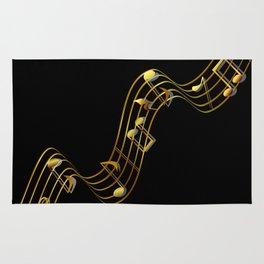 Golden Music Notes Rug