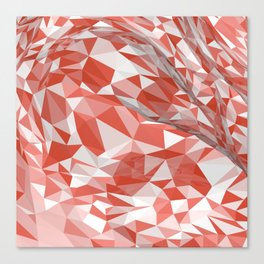 Abstract coral white modern geometrical triangles Canvas Print
