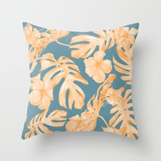 Island Hibiscus Palm Coral Teal Blue Throw Pillow