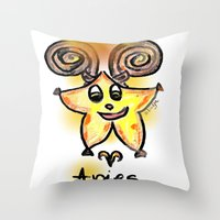 aries Throw Pillows featuring Aries by sladja