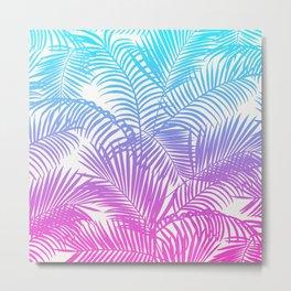 Modern pink teal tropical palm trees pattern Metal Print