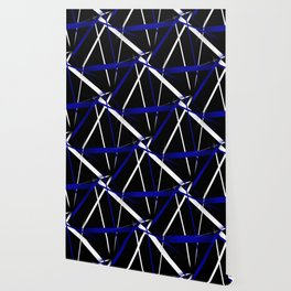 Seamless Royal Blue and White Stripes on A Black Background Wallpaper