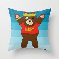 crossfit Throw Pillows featuring Crossfit Bear  by Gabriel J Galvan